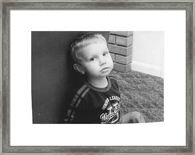 Somber Boy  Framed Print by Lisa Hartsell