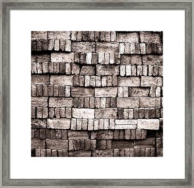 Sorted Red Bricks In Black And  White Framed Print
