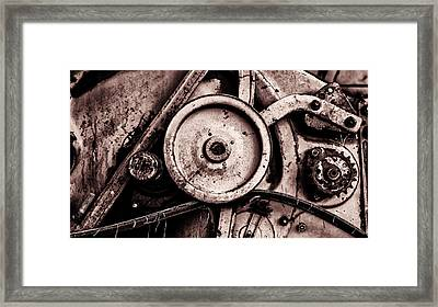 Soviet Ussr Combine Harvester Abstract Cogs In Monochrome Framed Print