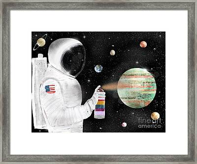 Framed Print featuring the painting Space Graffiti by Bri B