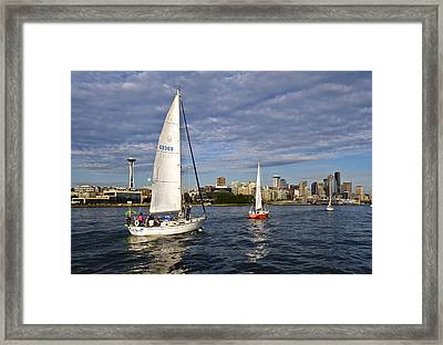 Space Needle Sail By Framed Print by Tom Dowd