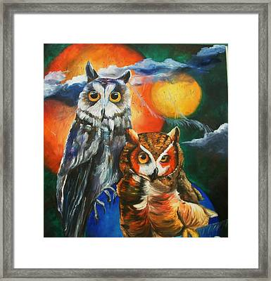 Space Owls Framed Print by Andrea  Darlington