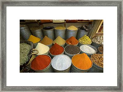 Spices For Sale In Souk, Fes, Morocco Framed Print by Panoramic Images