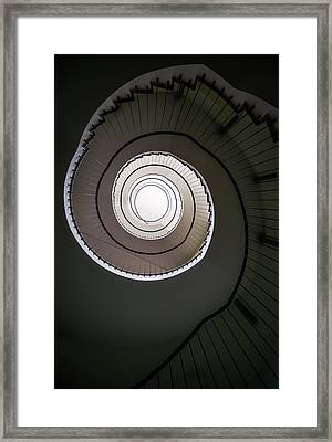 Framed Print featuring the photograph Spiral Staircase In Brown Tones by Jaroslaw Blaminsky