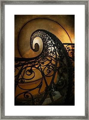 Spiral Staircase With Ornamented Handrail Framed Print by Jaroslaw Blaminsky