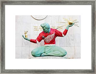 Spirit Of Detroit In Red Wing Jersey Framed Print by James Marvin Phelps