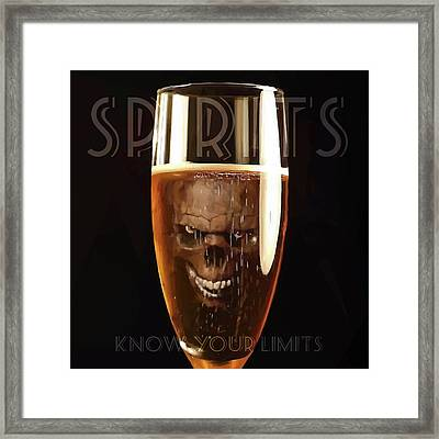 Spirits - Know Your Limits Framed Print by ISAW Gallery
