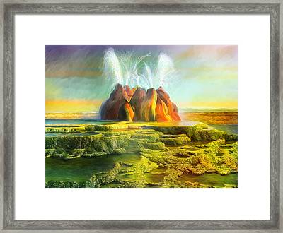 Spitting-fly Geyser In Nevada Framed Print