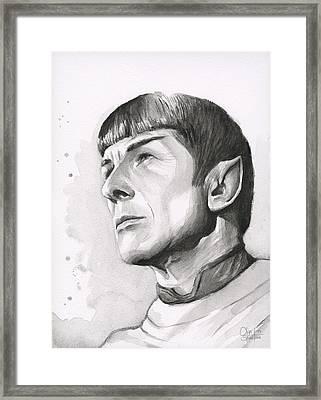 Spock Portrait Framed Print by Olga Shvartsur
