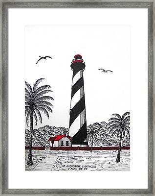 St Augustine Lighthouse Christmas Card Framed Print by Frederic Kohli
