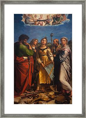 St. Cecilia With Sts. Paul, John, Augustine And Mary Magdalene Framed Print by Raffaello Sanzio