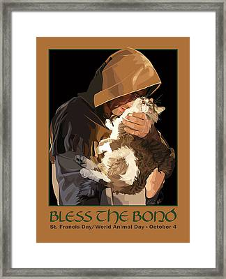 St. Francis With Cat Framed Print