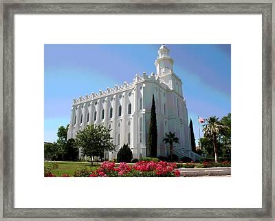 St George Utah Temple Framed Print by Patricia Haynes