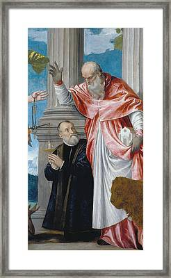 St Jerome And A Donor Framed Print