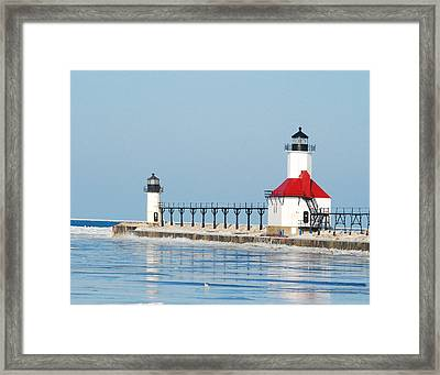 St Joseph North Pier Lights Framed Print by Michael Peychich