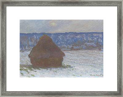 Stack Of Wheat Snow Effect, Overcast Day Framed Print by Claude Monet