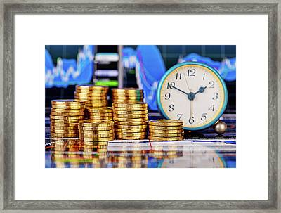 Stacks Of Golden Coins, Clock And The Financial Chart  Framed Print by Sergey Pro