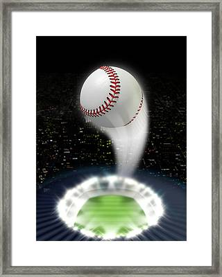 Stadium Night With Ball Swoosh Framed Print