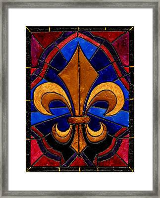 Stained Glass Fleur De Lis Framed Print by Elaine Hodges