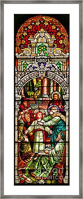 Framed Print featuring the photograph Stained Glass Scene 3 Crop by Adam Jewell