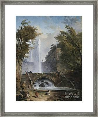 Stair And Fountain In The Park Of A Roman Villa Framed Print