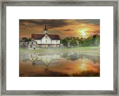 Framed Print featuring the mixed media Star Barn Sunrise by Lori Deiter