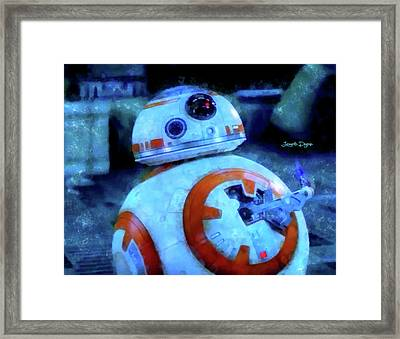 Star Wars Bb-8 Thumbs Up - Aquarell Style Framed Print