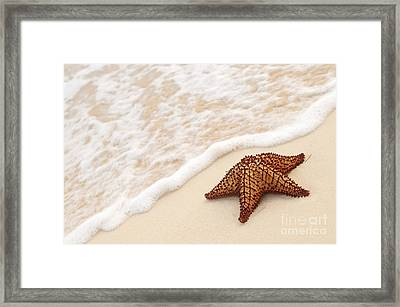 Starfish And Ocean Wave Framed Print