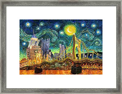 Starry Night In Pittsburgh Framed Print