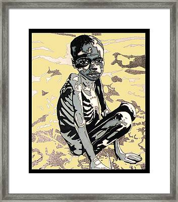 Starving African Boy Framed Print by Gabe Art Inc