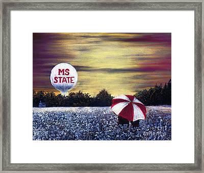 State Fans Under The Bulldog Umbrella Framed Print
