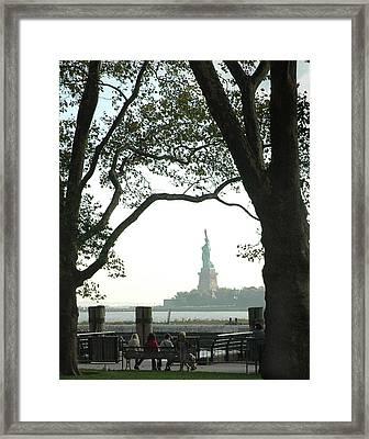 Statue Of Liberty From Ellis Island Framed Print by Frank Mari