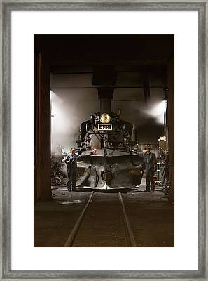 Framed Print featuring the photograph Steam Locomotive In The Roundhouse Of The Durango And Silverton Narrow Gauge Railroad In Durango by Carol M Highsmith
