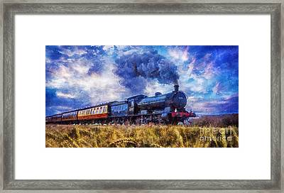 Framed Print featuring the digital art Steam Train by Ian Mitchell