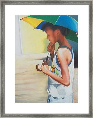 Stephanie With Umbrella Framed Print by Sylvester Hickmon