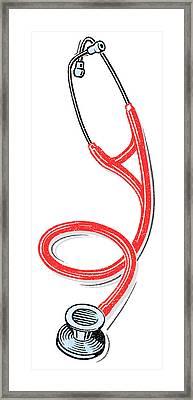 Stethoscope, Lino Print Framed Print