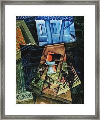 Still Life Before An Open Window, Place Ravignan Framed Print by Juan Gris