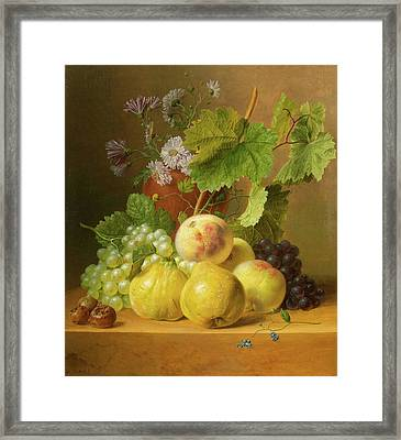 Still Life Of Fruits With Quinces And Peaches On A Stone Plinth Framed Print by Willem
