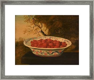 Still Life Of Raspberries In A Lowestoft Bowl Framed Print by James Sillett