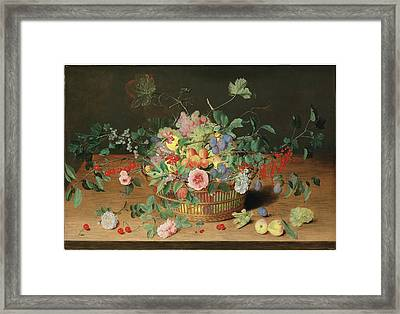 Still Life With A Basket Of Flowers And Fruit Framed Print