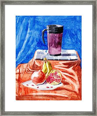 Still Life With A Flask N Pomegranate N Bananas And A News Paper Framed Print by Makarand Joshi