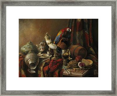 Framed Print featuring the painting Still-life With A Lobster by Tigran Ghulyan