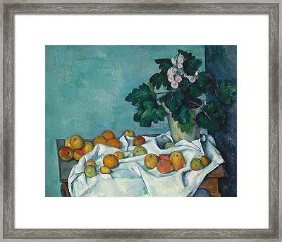 Still Life With Apples And A Pot Of Primroses Framed Print by Paul Cezanne