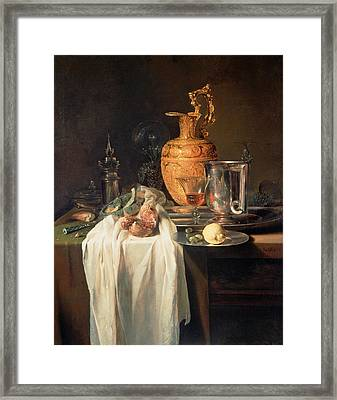 Still Life With Ewer, Vessels And Pomegranate Framed Print
