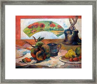 Still-life With Fan, Nature Morte A L'eventail, By Paul Gauguin, Framed Print