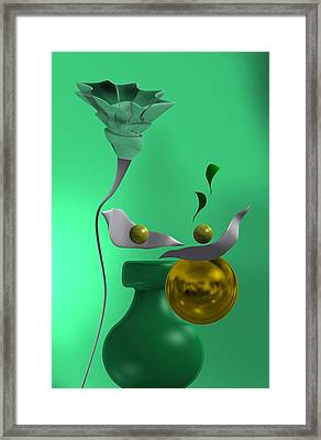 Still Life With Flower Over Green Framed Print