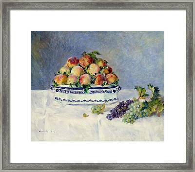 Still Life With Peaches And Grapes Framed Print