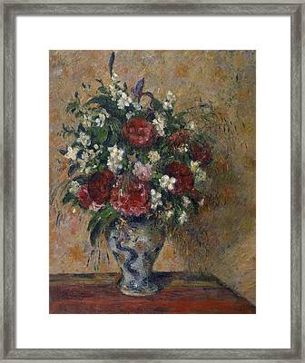 Still Life With Peonies And Mock Orange Framed Print by Camille Pissarro