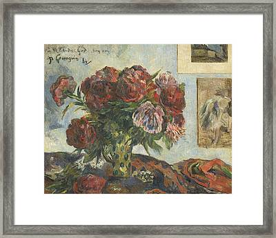 Still Life With Peonies Framed Print by Paul Gauguin