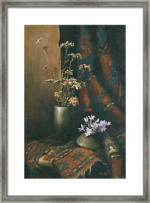 Framed Print featuring the painting Still-life With Snow Drops by Tigran Ghulyan